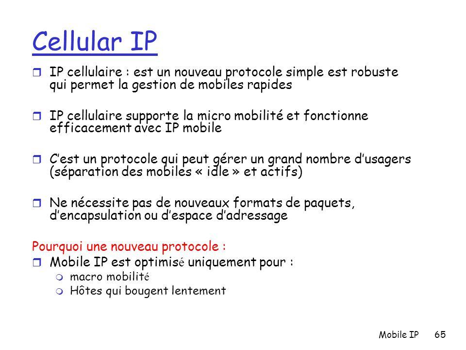 Mobile IP65 Cellular IP r IP cellulaire : est un nouveau protocole simple est robuste qui permet la gestion de mobiles rapides r IP cellulaire support