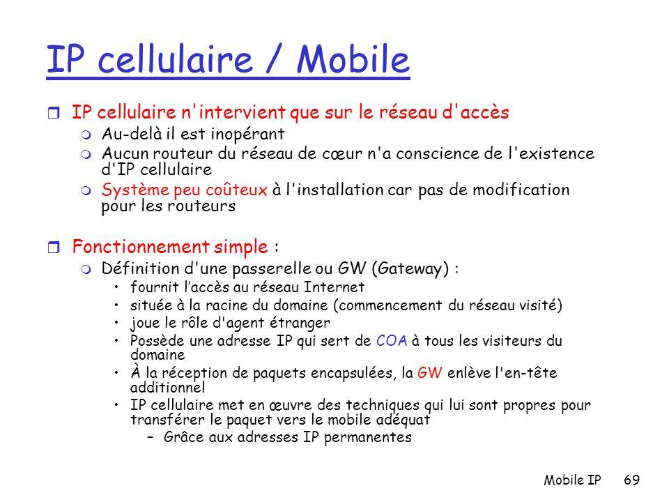Mobile IP69 IP cellulaire / Mobile r IP cellulaire n'intervient que sur le réseau d'accès m Au-delà il est inopérant m Aucun routeur du réseau de cœur
