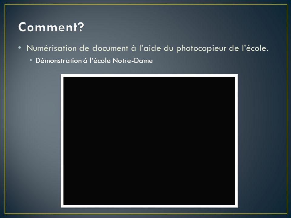 Numérisation de document à l'aide du photocopieur de l'école. Démonstration à l'école Notre-Dame