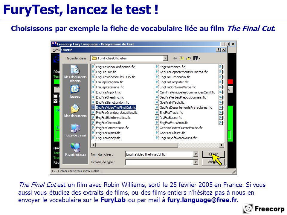 FuryTest, lancez le test .