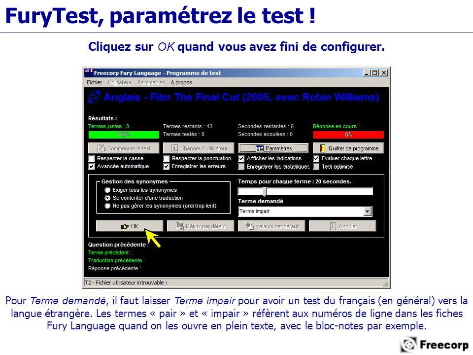 FuryTest, paramétrez le test . Cliquez sur OK quand vous avez fini de configurer.