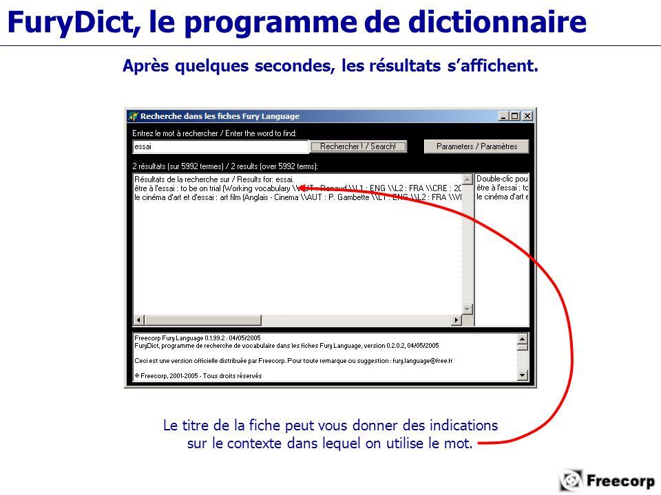 FuryDict, le programme de dictionnaire Après quelques secondes, les résultats s'affichent.