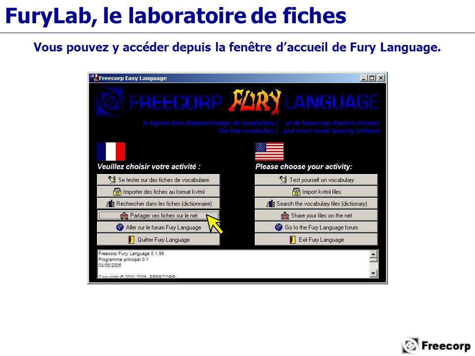 FuryLab, le laboratoire de fiches Vous pouvez y accéder depuis la fenêtre d'accueil de Fury Language.