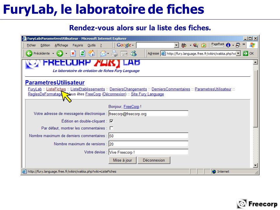 FuryLab, le laboratoire de fiches Rendez-vous alors sur la liste des fiches.
