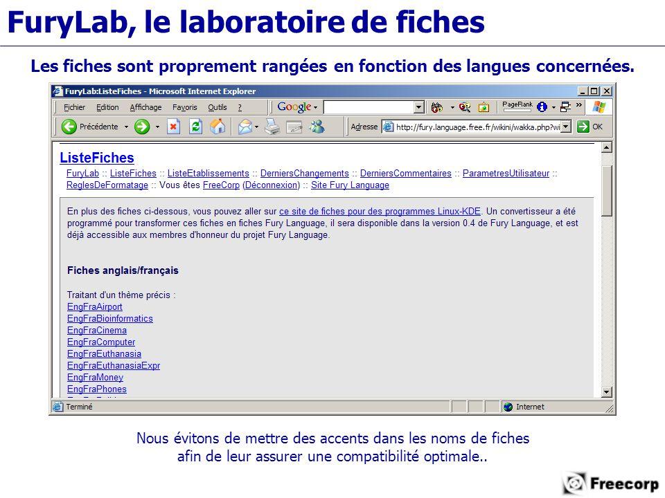 FuryLab, le laboratoire de fiches Les fiches sont proprement rangées en fonction des langues concernées.