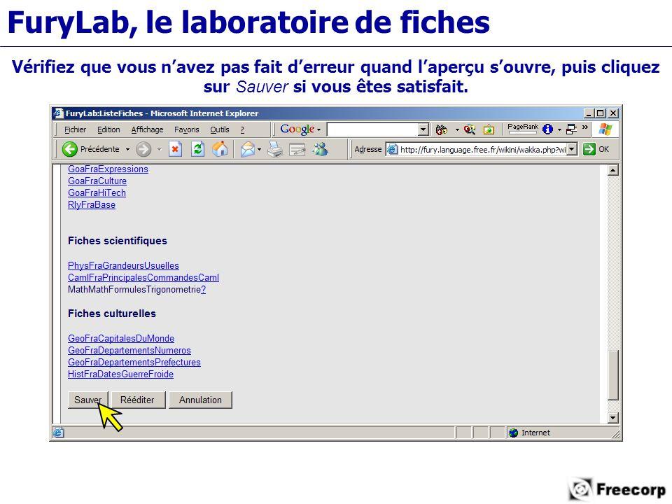 FuryLab, le laboratoire de fiches Vérifiez que vous n'avez pas fait d'erreur quand l'aperçu s'ouvre, puis cliquez sur Sauver si vous êtes satisfait.