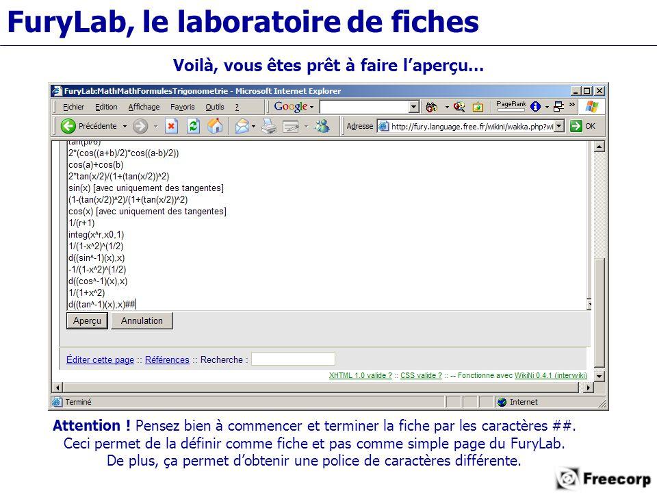 FuryLab, le laboratoire de fiches Voilà, vous êtes prêt à faire l'aperçu...