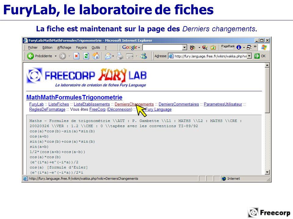 FuryLab, le laboratoire de fiches La fiche est maintenant sur la page des Derniers changements.
