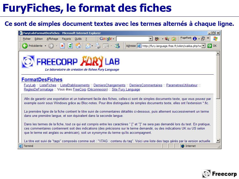 FuryFiches, le format des fiches Ce sont de simples document textes avec les termes alternés à chaque ligne.