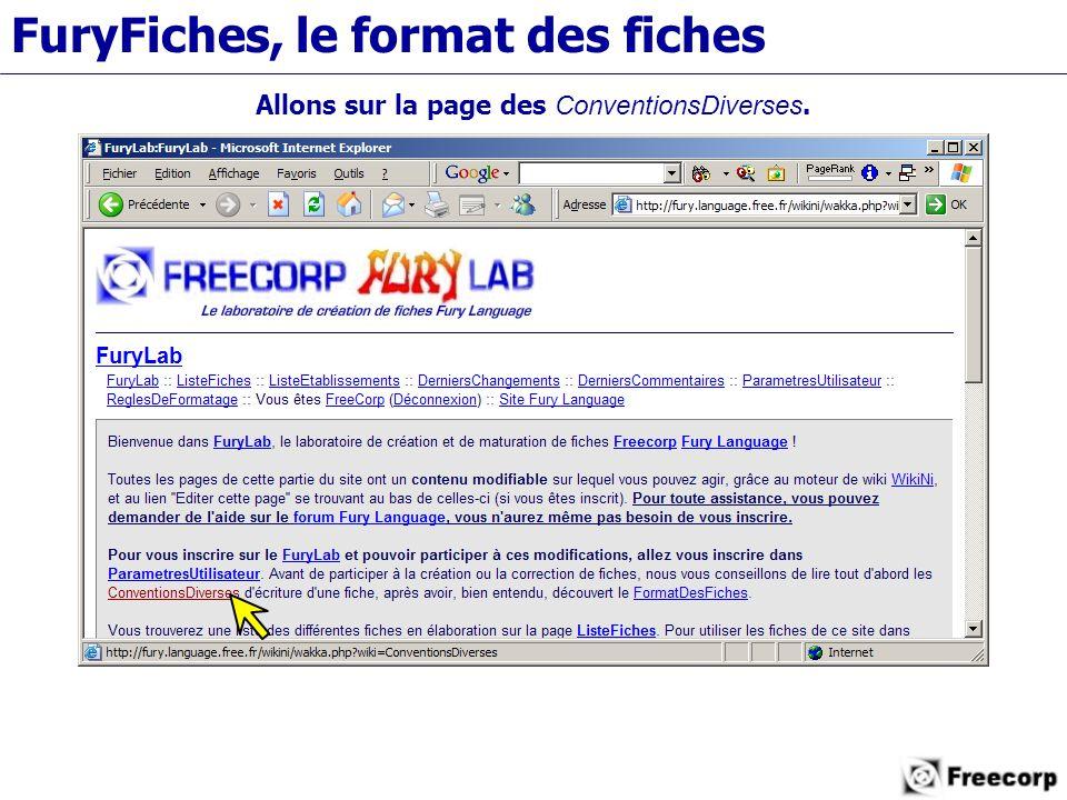FuryFiches, le format des fiches Allons sur la page des ConventionsDiverses.