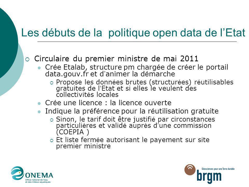 Les débuts de la politique open data de l'Etat  Circulaire du premier ministre de mai 2011 Cr é e Etalab, structure pm charg é e de cr é er le portai