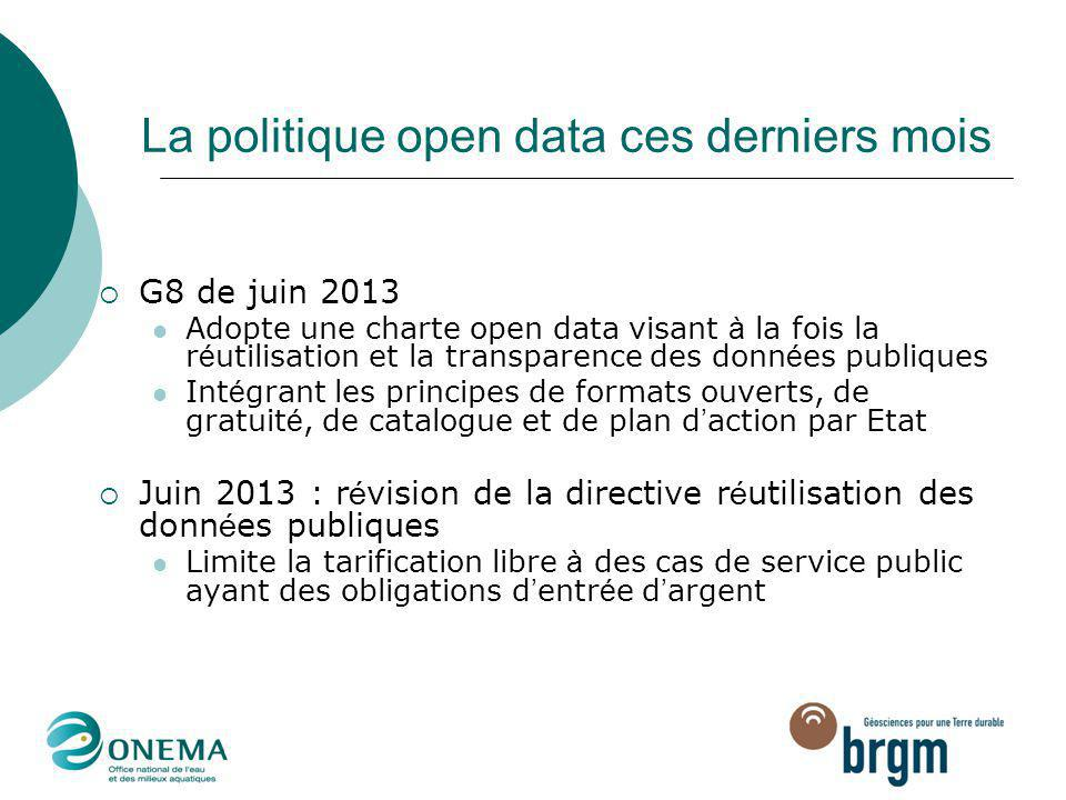 La politique open data ces derniers mois  G8 de juin 2013 Adopte une charte open data visant à la fois la r é utilisation et la transparence des donn