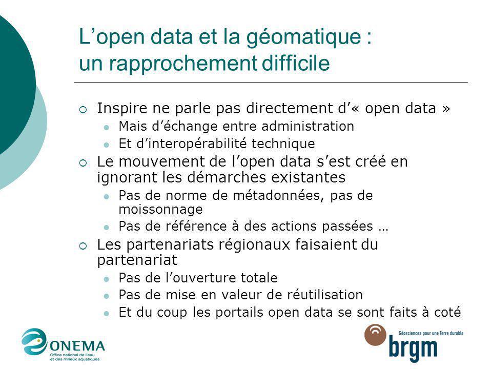 L'open data et la géomatique : un rapprochement difficile  Inspire ne parle pas directement d'« open data » Mais d'échange entre administration Et d'