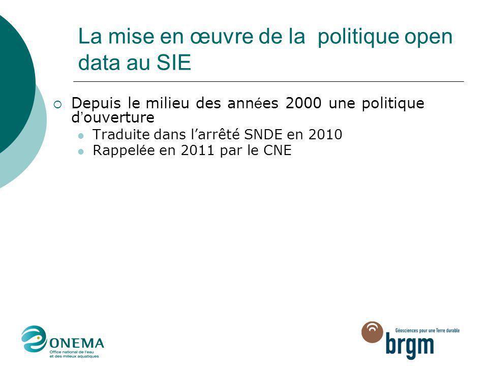 La mise en œuvre de la politique open data au SIE  Depuis le milieu des ann é es 2000 une politique d ' ouverture Traduite dans l'arrêté SNDE en 2010