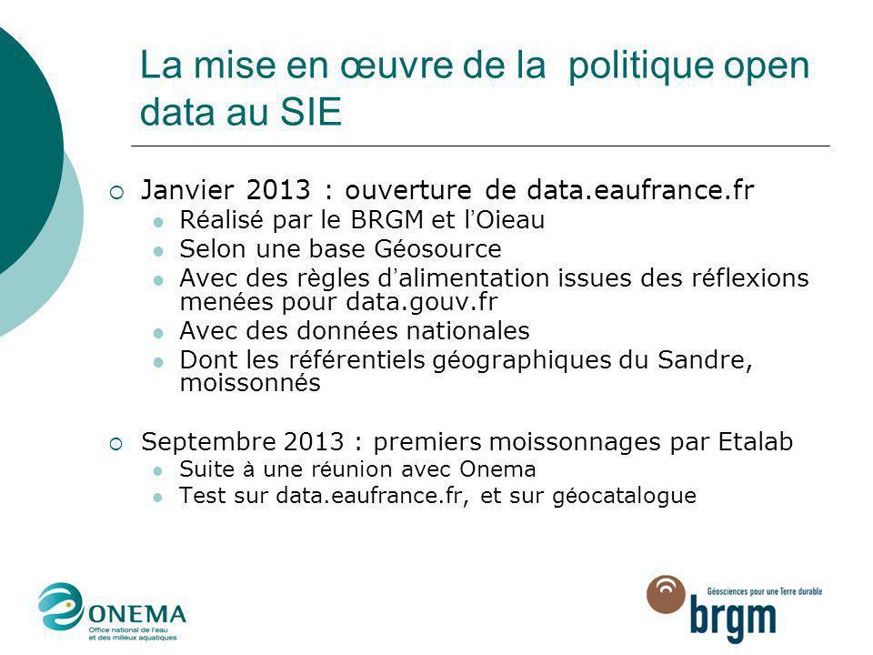 La mise en œuvre de la politique open data au SIE  Janvier 2013 : ouverture de data.eaufrance.fr R é alis é par le BRGM et l ' Oieau Selon une base G