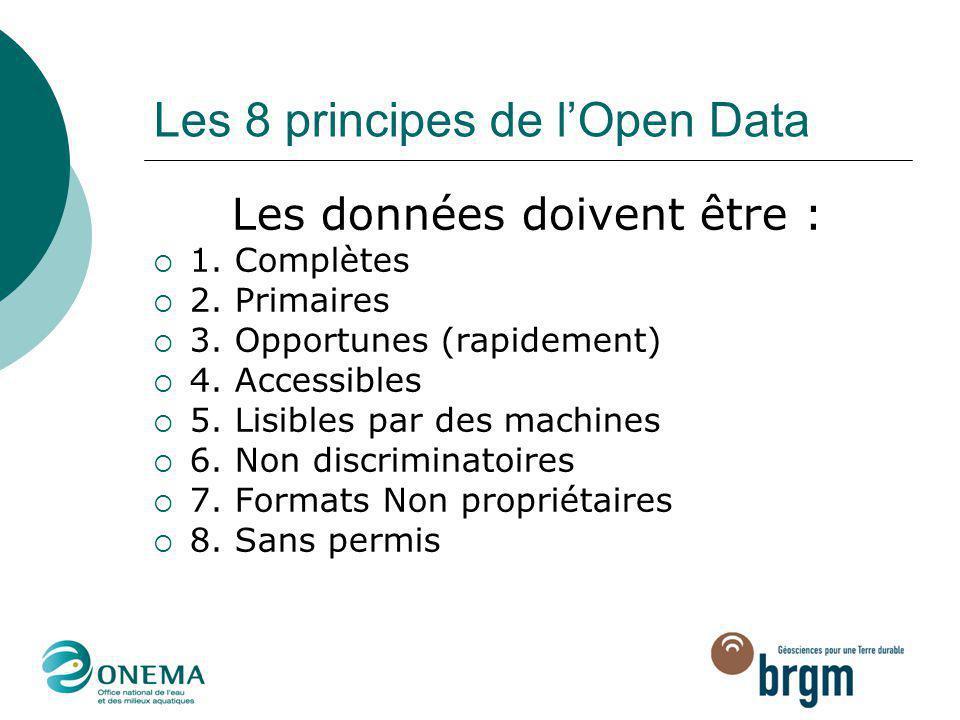 Les 8 principes de l'Open Data Les données doivent être :  1. Complètes  2. Primaires  3. Opportunes (rapidement)  4. Accessibles  5. Lisibles pa
