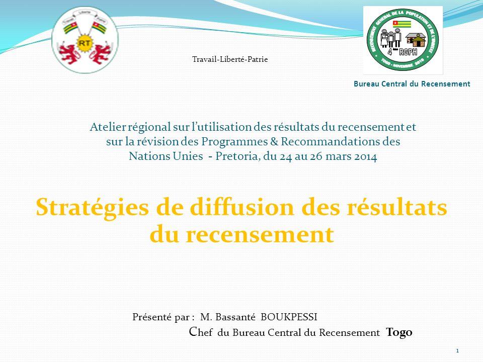 Bureau Central du Recensement Stratégies de diffusion des résultats du recensement 1 Présenté par : M.