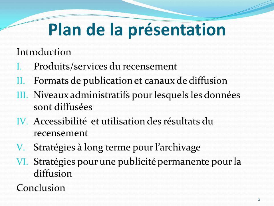 Plan de la présentation Introduction I. Produits/services du recensement II.