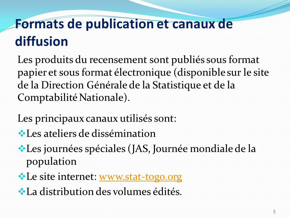 Les produits du recensement sont publiés sous format papier et sous format électronique (disponible sur le site de la Direction Générale de la Statistique et de la Comptabilité Nationale).