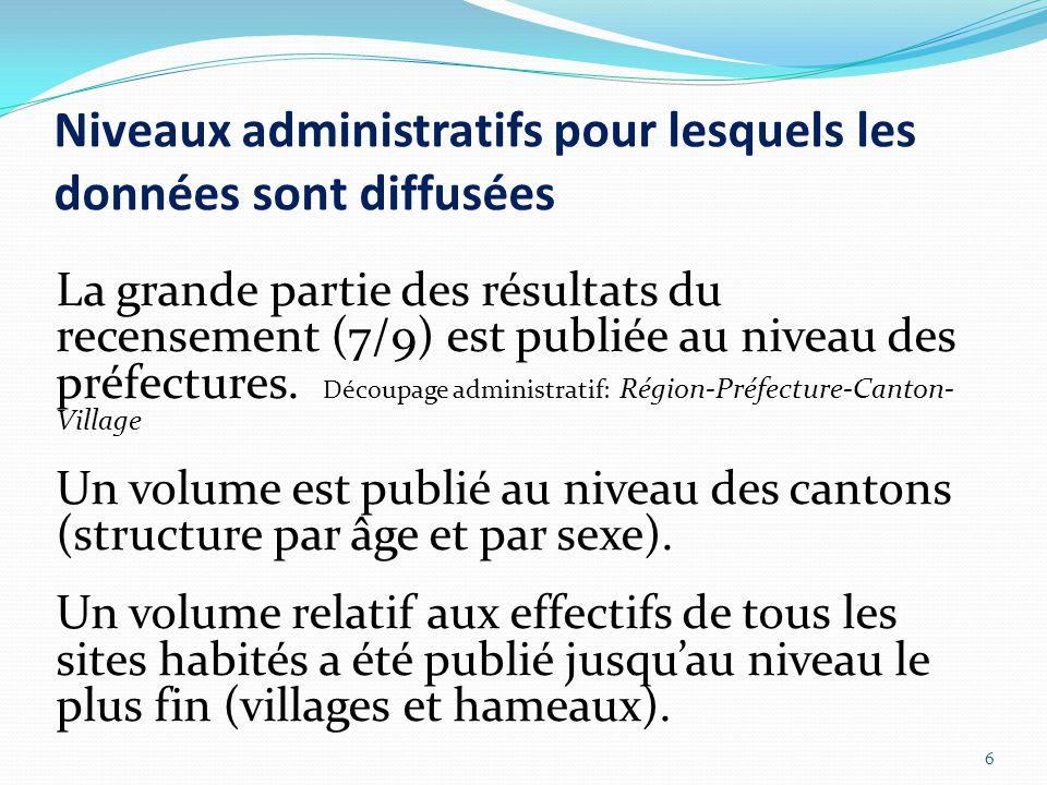 Niveaux administratifs pour lesquels les données sont diffusées La grande partie des résultats du recensement (7/9) est publiée au niveau des préfectures.