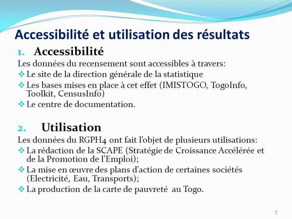 Accessibilité et utilisation des résultats 1.