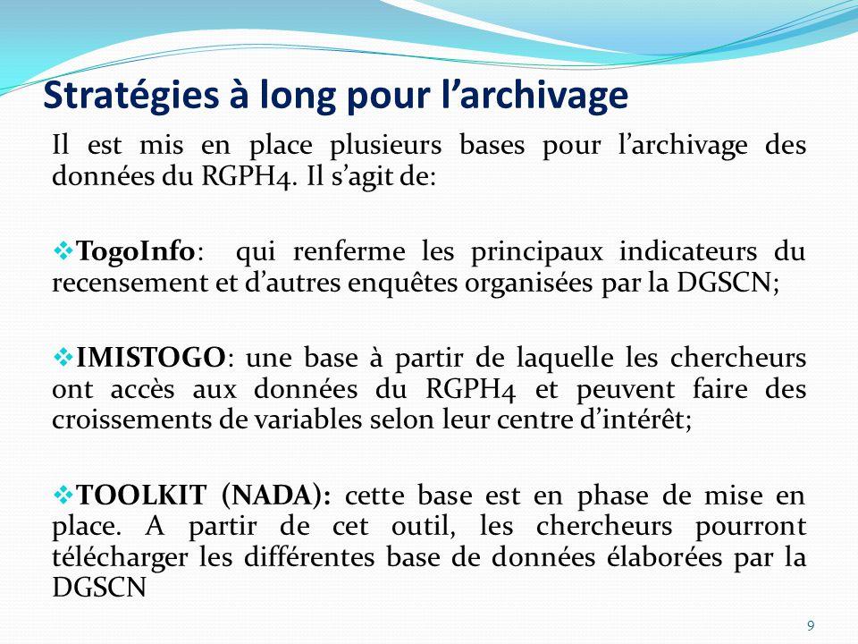 Stratégies à long pour l'archivage Il est mis en place plusieurs bases pour l'archivage des données du RGPH4.