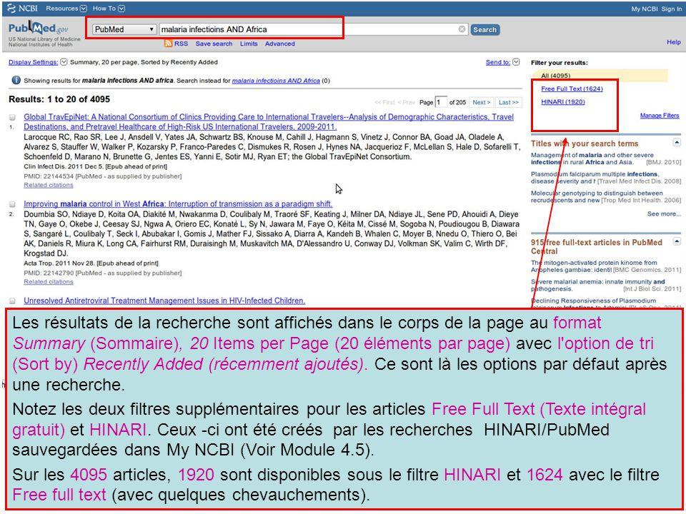 Les résultats de la recherche sont affichés dans le corps de la page au format Summary (Sommaire), 20 Items per Page (20 éléments par page) avec l'opt
