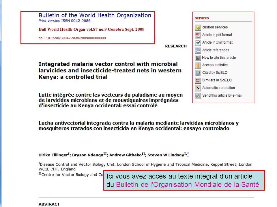 Ici vous avez accès au texte intégral d'un article du Bulletin de l'Organisation Mondiale de la Santé.