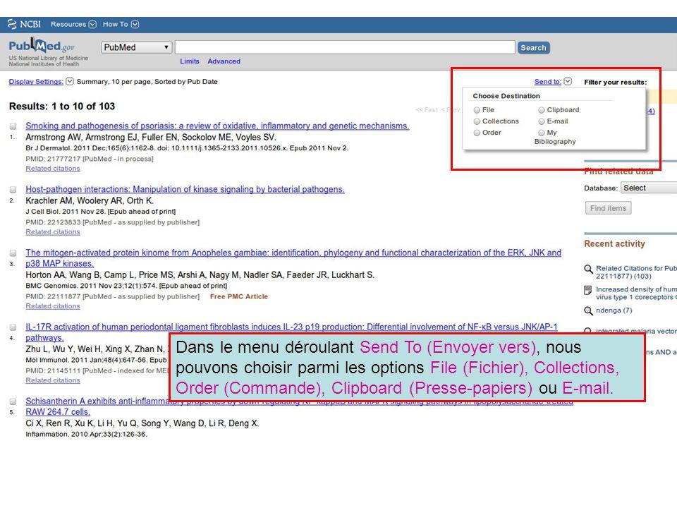 Dans le menu déroulant Send To (Envoyer vers), nous pouvons choisir parmi les options File (Fichier), Collections, Order (Commande), Clipboard (Presse
