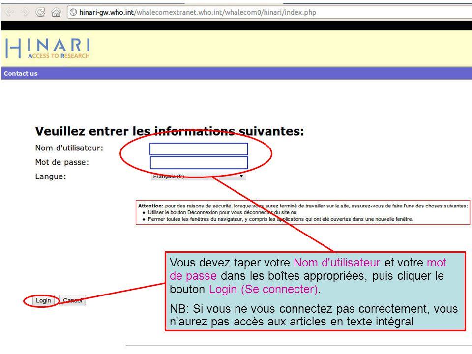 Rappelez-vous que si vous n utilisez pas la page de Login (Connexion), vous pouvez le faire sur la page Périodiques, base de données et autres sources d informations en texte intégral.