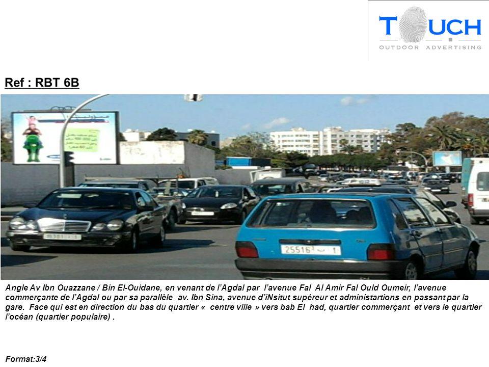 Angle Av Ibn Ouazzane / Bin El-Ouidane, en venant de l'Agdal par l'avenue Fal Al Amir Fal Ould Oumeir, l'avenue commerçante de l'Agdal ou par sa parallèle av.