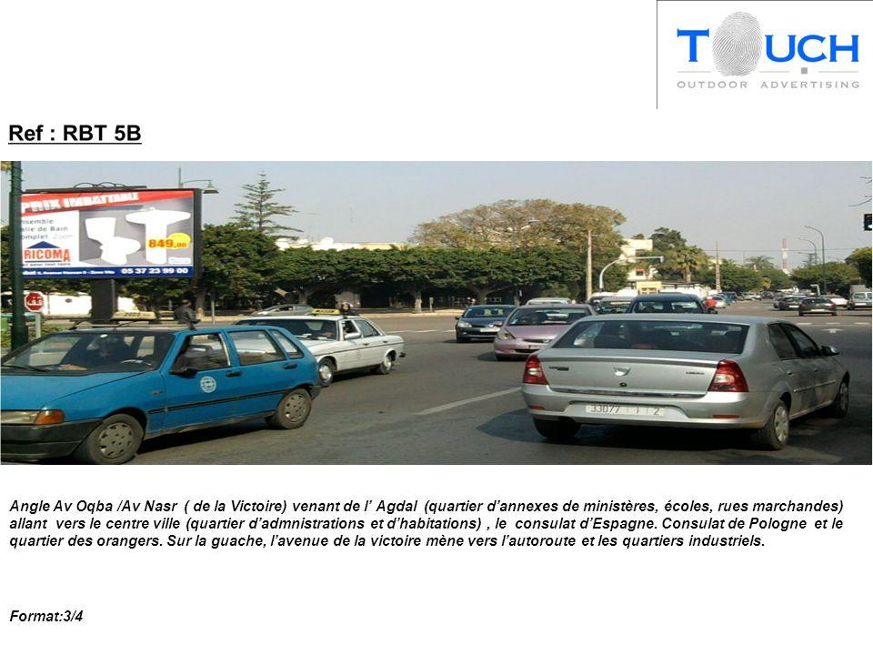 Angle Av Oqba /Av Nasr ( de la Victoire) venant de l' Agdal (quartier d'annexes de ministères, écoles, rues marchandes) allant vers le centre ville (quartier d'admnistrations et d'habitations), le consulat d'Espagne.