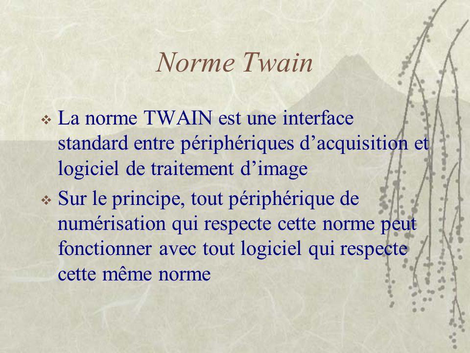 Norme Twain  La norme TWAIN est une interface standard entre périphériques d'acquisition et logiciel de traitement d'image  Sur le principe, tout pé
