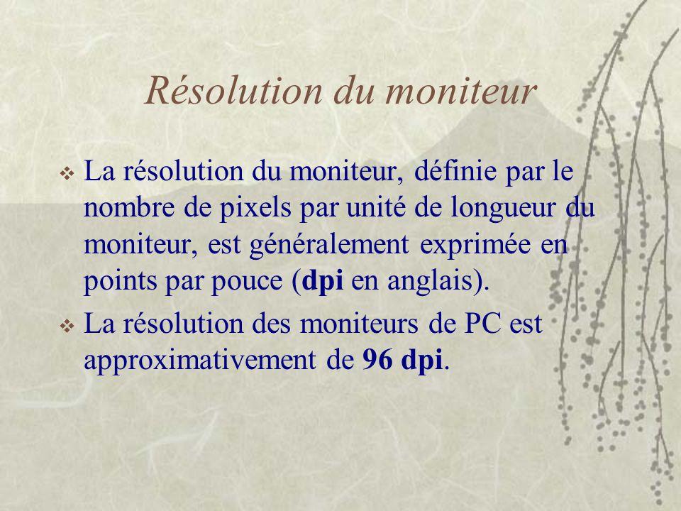 Résolution du moniteur  La résolution du moniteur, définie par le nombre de pixels par unité de longueur du moniteur, est généralement exprimée en po