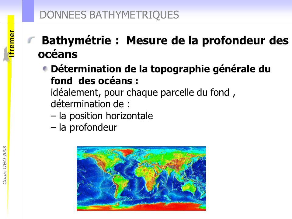 Cours UBO 2008 DONNEES BATHYMETRIQUES Bathymétrie : Mesure de la profondeur des océans Détermination de la topographie générale du fond des océans : i