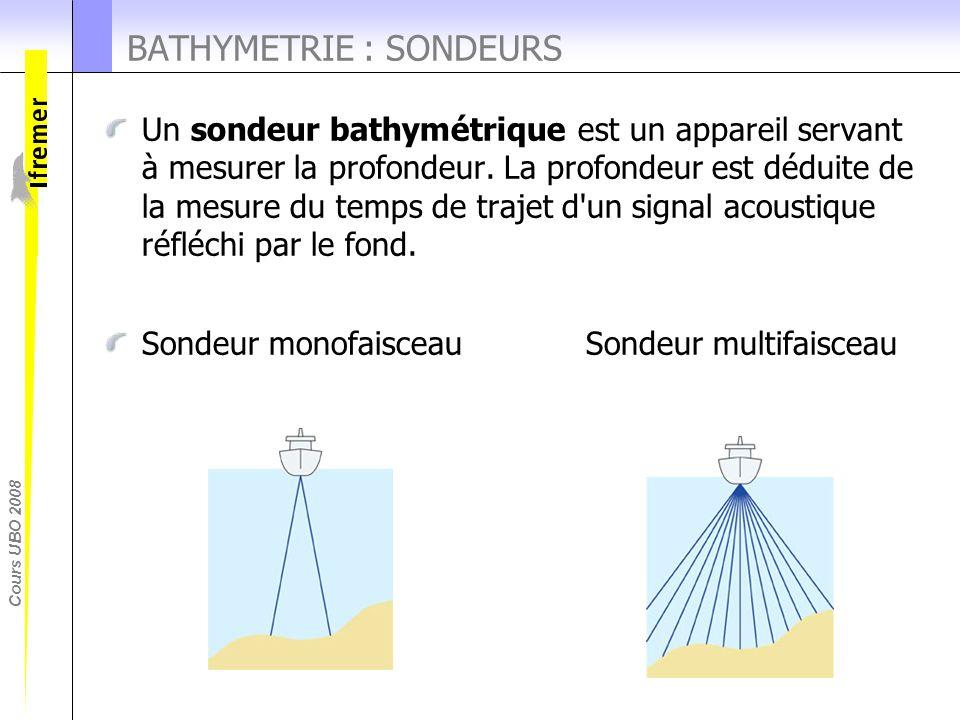 Cours UBO 2008 Un sondeur bathymétrique est un appareil servant à mesurer la profondeur. La profondeur est déduite de la mesure du temps de trajet d'u