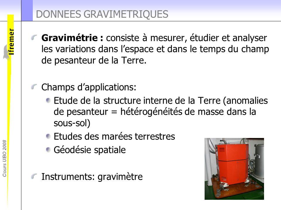 Cours UBO 2008 DONNEES GRAVIMETRIQUES Gravimétrie : consiste à mesurer, étudier et analyser les variations dans l'espace et dans le temps du champ de