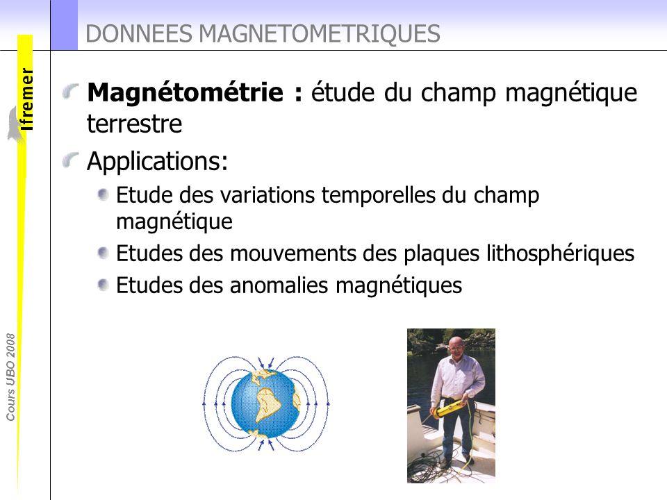 Cours UBO 2008 DONNEES MAGNETOMETRIQUES Magnétométrie : étude du champ magnétique terrestre Applications: Etude des variations temporelles du champ ma