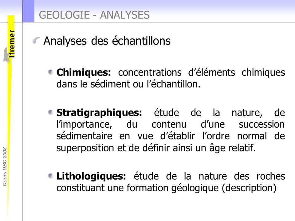 Cours UBO 2008 GEOLOGIE - ANALYSES Analyses des échantillons Chimiques: concentrations d'éléments chimiques dans le sédiment ou l'échantillon. Stratig