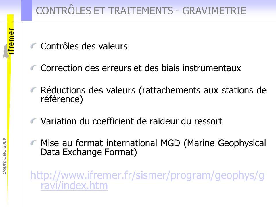 Cours UBO 2008 CONTRÔLES ET TRAITEMENTS - GRAVIMETRIE Contrôles des valeurs Correction des erreurs et des biais instrumentaux Réductions des valeurs (