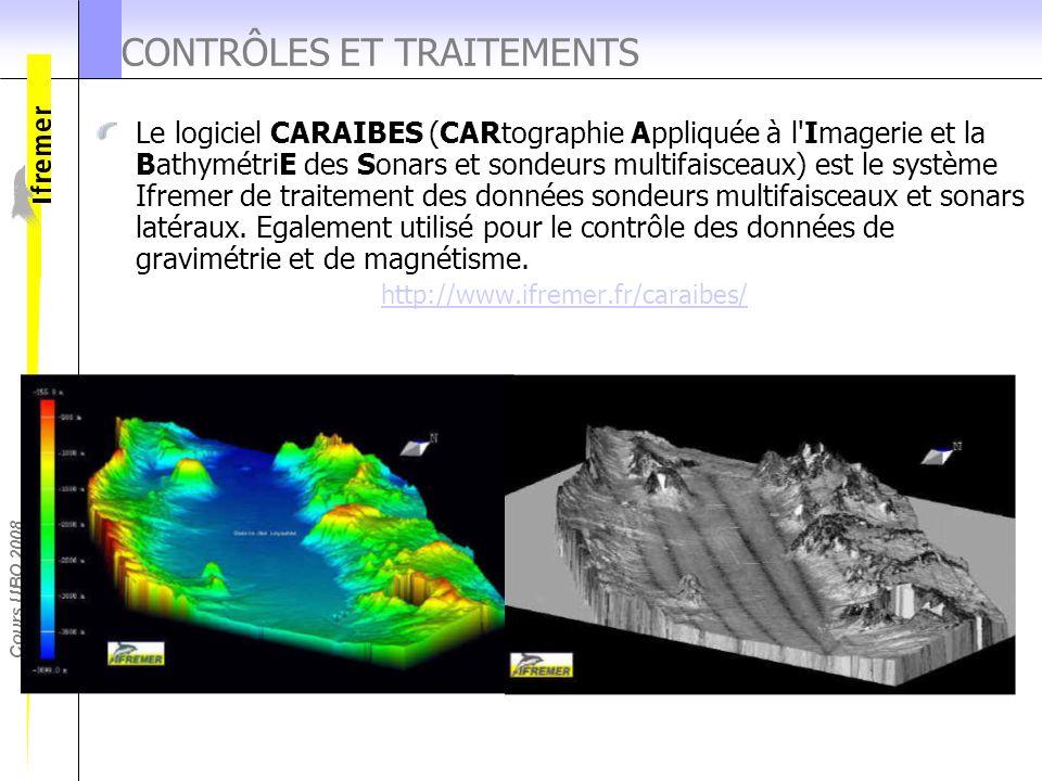 Cours UBO 2008 CONTRÔLES ET TRAITEMENTS Le logiciel CARAIBES (CARtographie Appliquée à l'Imagerie et la BathymétriE des Sonars et sondeurs multifaisce
