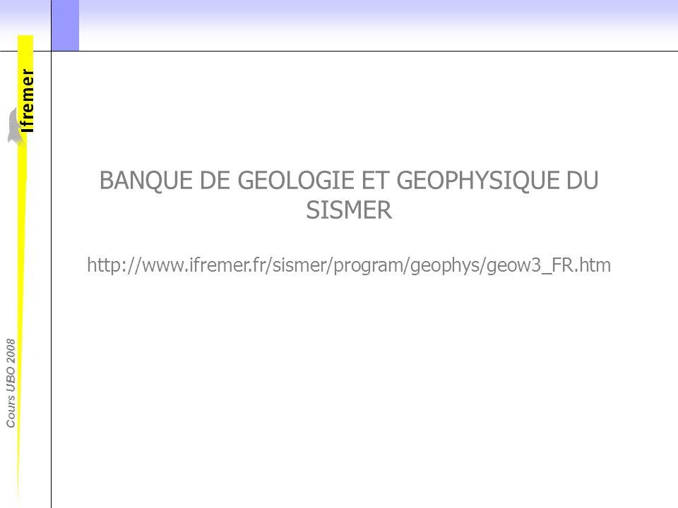 Cours UBO 2008 BANQUE DE GEOLOGIE ET GEOPHYSIQUE DU SISMER http://www.ifremer.fr/sismer/program/geophys/geow3_FR.htm