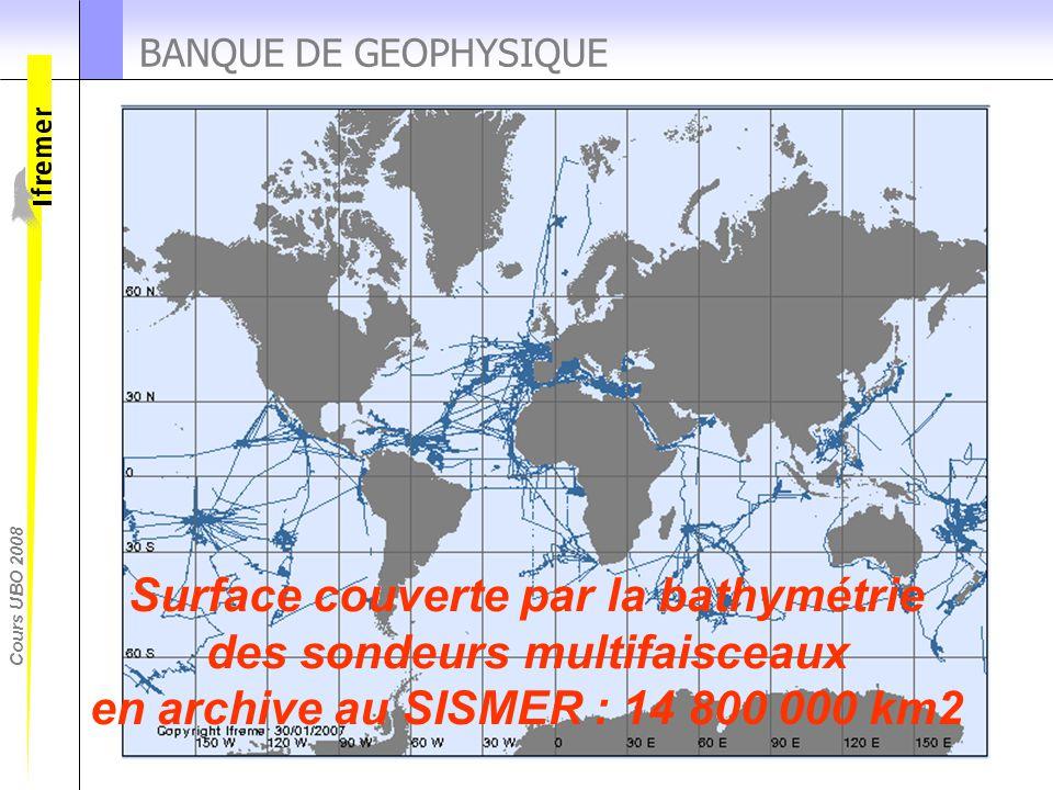 Cours UBO 2008 BANQUE DE GEOPHYSIQUE Surface couverte par la bathymétrie des sondeurs multifaisceaux en archive au SISMER : 14 800 000 km2