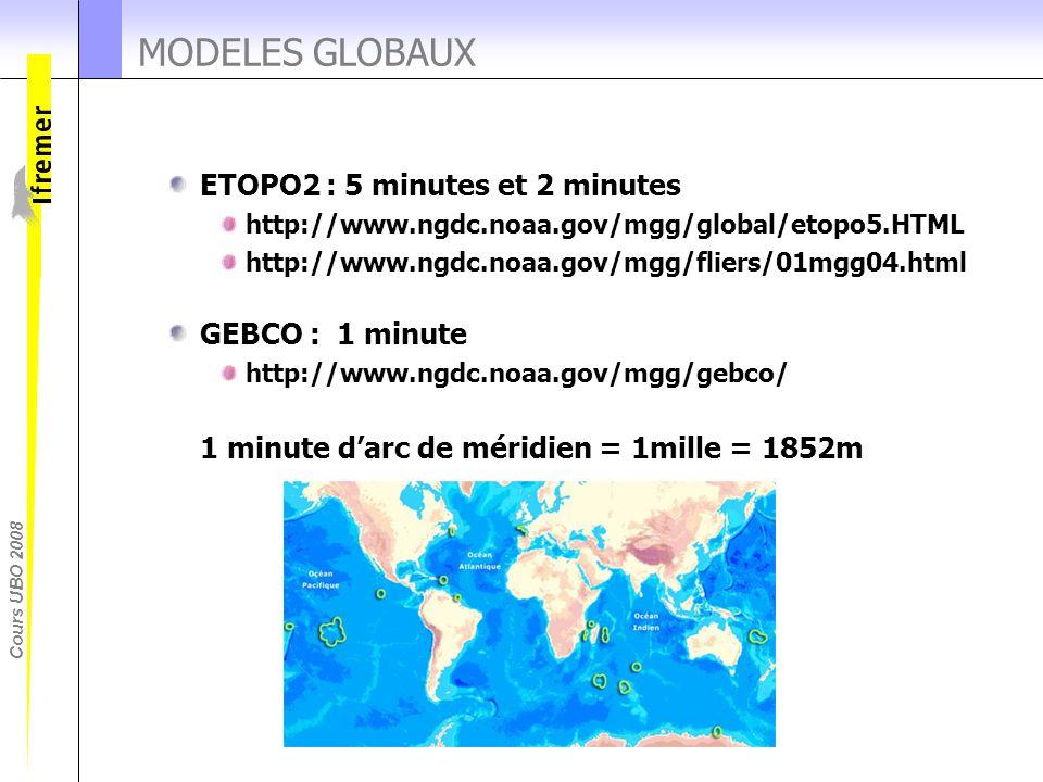 Cours UBO 2008 MODELES GLOBAUX ETOPO2 : 5 minutes et 2 minutes http://www.ngdc.noaa.gov/mgg/global/etopo5.HTML http://www.ngdc.noaa.gov/mgg/fliers/01m