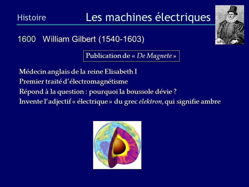 1885 Galileo Ferraris (1840-1905) Histoire Les machines électriques Première machine sans collecteur invente un moteur à induction biphasé