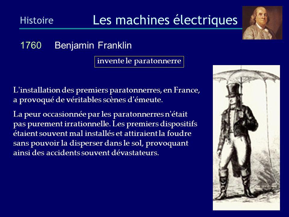 1859 Gaston Planté (1834–1889) Histoire Les machines électriques Il est possible que la batterie date d encore plus longtemps.