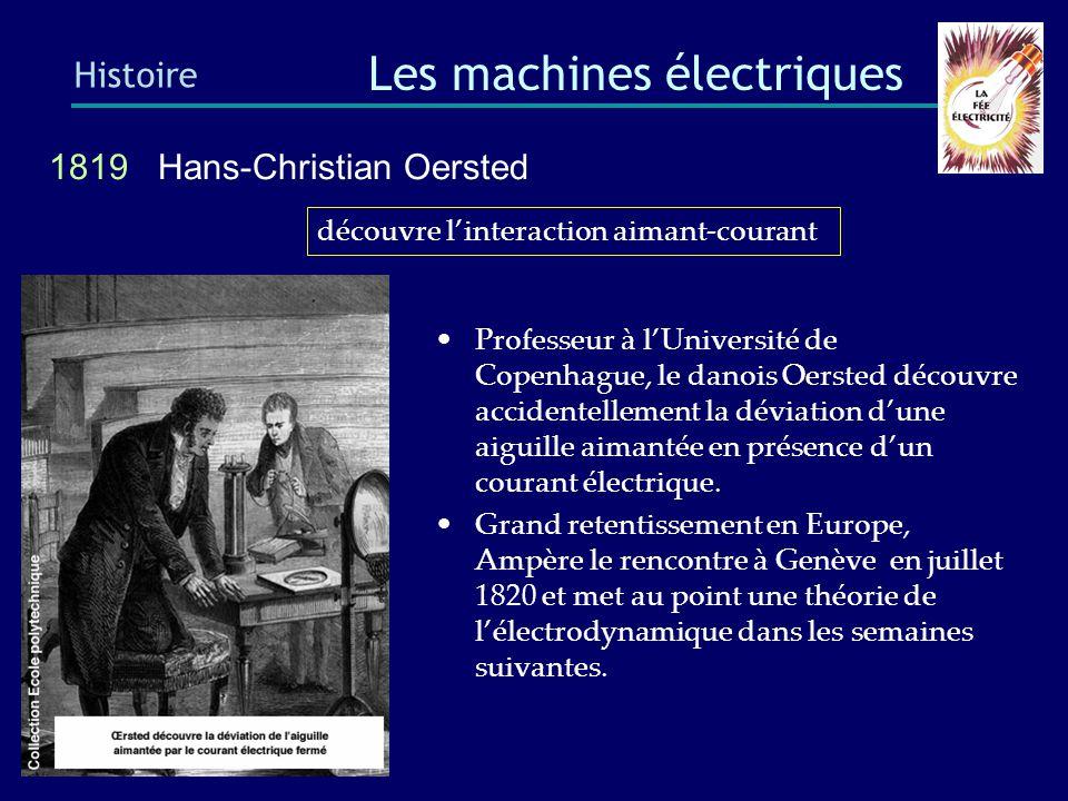 1820 Jean-Baptiste Biot et Félix Savart Histoire Les machines électriques Laplace a également déterminé la formule permettant de calculer la force exercée sur un fil parcouru par un courant électrique baigné par un champ magnétique.
