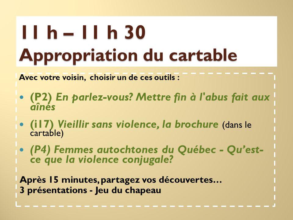 11 h – 11 h 30 Appropriation du cartable Avec votre voisin, choisir un de ces outils : (P2) En parlez-vous.