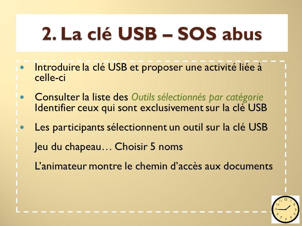 2. La clé USB – SOS abus Introduire la clé USB et proposer une activité liée à celle-ci Consulter la liste des Outils sélectionnés par catégorie Ident