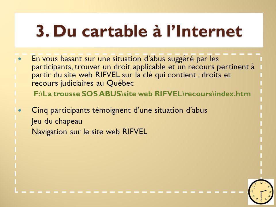3. Du cartable à l'Internet En vous basant sur une situation d'abus suggéré par les participants, trouver un droit applicable et un recours pertinent